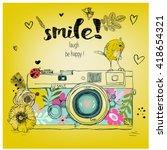 retro camera. vector... | Shutterstock .eps vector #418654321