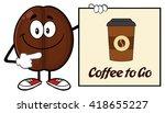 smiling coffee bean cartoon...