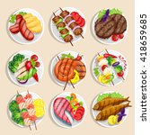 grilled food set fish and meat... | Shutterstock .eps vector #418659685