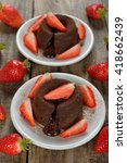 Small photo of Chocolate fondant with strawberries