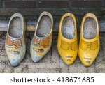 Two Old Pair Of Wooden Shoes I...