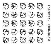 Set Of Pig Smiley Icons ...
