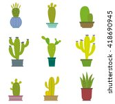 cactus collection in vector... | Shutterstock .eps vector #418690945