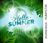 vector hello summer typographic ... | Shutterstock .eps vector #418691734