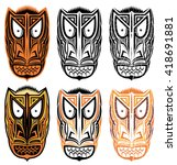 tribal indian totem scary... | Shutterstock .eps vector #418691881