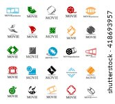 movie icons set   isolated on... | Shutterstock .eps vector #418693957