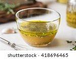 homemade vinaigrette with thyme ... | Shutterstock . vector #418696465