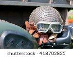 vintage motorcycle helmet ... | Shutterstock . vector #418702825