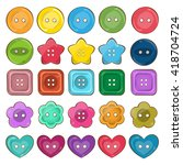 vector set of cute bright... | Shutterstock .eps vector #418704724