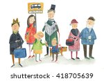 waiting for bus watercolor... | Shutterstock . vector #418705639