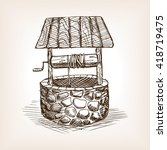 Rustic Well Sketch Style Vecto...