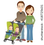 cute style young parent and... | Shutterstock . vector #418725631
