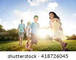 family bonding cheerful... | Shutterstock . vector #418726045