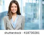 smiling businesswoman in the... | Shutterstock . vector #418730281