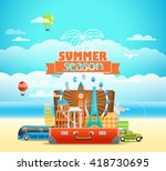 vacation travelling composition ... | Shutterstock .eps vector #418730695