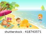 cartoon children playing on the ... | Shutterstock .eps vector #418743571