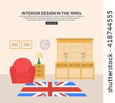retro interior living room with ... | Shutterstock .eps vector #418744555