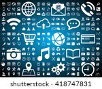 web icons collection on blue... | Shutterstock .eps vector #418747831