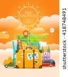 vacation travelling concept.... | Shutterstock .eps vector #418748491