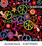 hippie wallpaper with peace... | Shutterstock .eps vector #418749601