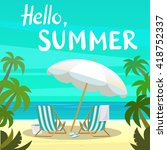 summer island vacation vector... | Shutterstock .eps vector #418752337