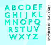 blue alphabet english 3d render ... | Shutterstock . vector #418754284