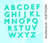 blue alphabet english 3d render ... | Shutterstock . vector #418754284