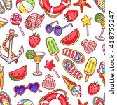cute seamless pattern with... | Shutterstock .eps vector #418755247