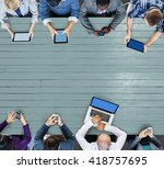 business team connection... | Shutterstock . vector #418757695