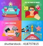 cinema 4 flat design concepts... | Shutterstock .eps vector #418757815