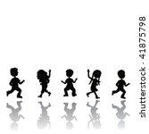 silhouettes children | Shutterstock .eps vector #41875798