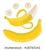 set bananas. single banana.... | Shutterstock .eps vector #418765141