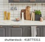 interior design of clean modern ... | Shutterstock . vector #418775311
