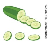 cucumber slices organic  | Shutterstock .eps vector #418785991