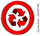 doodle of a red recycle sign | Shutterstock .eps vector #418787785