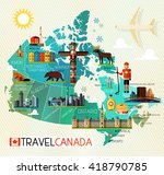 map of canada and travel icons. ... | Shutterstock .eps vector #418790785