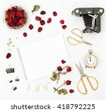 Flat Lay With Photo Album  Red...