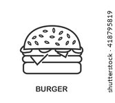 burger icon or logo line art... | Shutterstock .eps vector #418795819