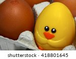 hens eggs with a novelty... | Shutterstock . vector #418801645