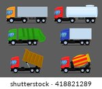 trucks and trailers | Shutterstock .eps vector #418821289
