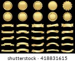 banner vector icon set gold... | Shutterstock .eps vector #418831615