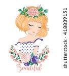 cute girl vector girl vector t... | Shutterstock .eps vector #418839151