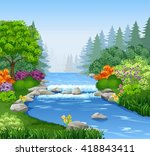 beautiful mountain river in... | Shutterstock .eps vector #418843411