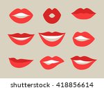 female lips set. mouths with... | Shutterstock .eps vector #418856614