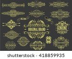 set yellow frame on black... | Shutterstock .eps vector #418859935