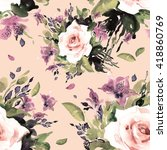 watercolor seamless pattern... | Shutterstock . vector #418860769