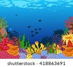 beauty corals with underwater... | Shutterstock .eps vector #418863691