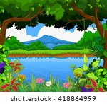 beauty lake with landscape view ... | Shutterstock .eps vector #418864999