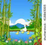 funny duck cartoon swimming...   Shutterstock .eps vector #418865005