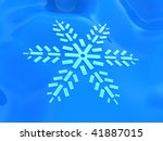 abstract 3d illustration of blue background with snowflake - stock photo